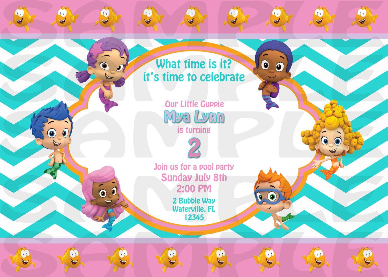 Bubble Guppies Invitation. $15.00, via Etsy.   Cake Design ...