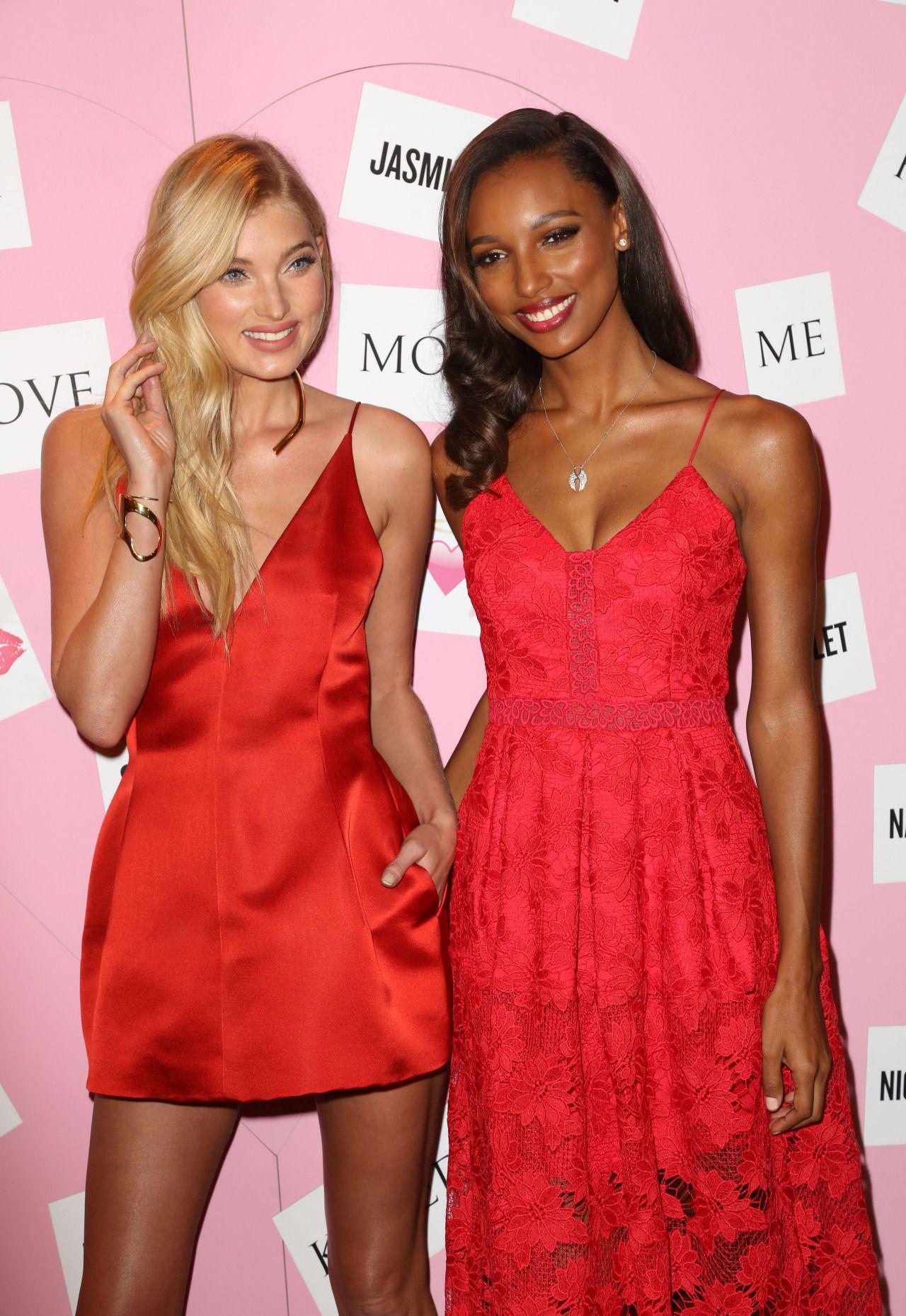 Elsa Hosk & Jasmine Tookes celebrates Valentine's Day at Victoria's Secret on February 9, 2016 in New York City