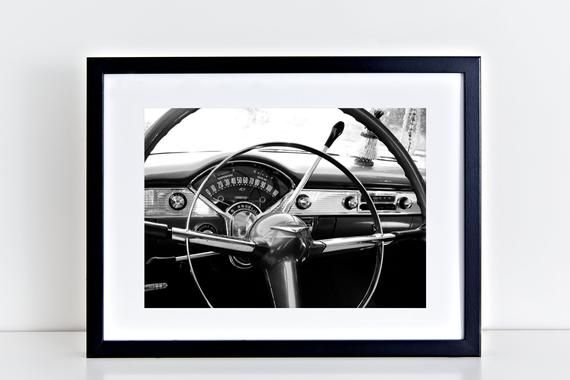 Classic Car Print, Chevrolet Bel Air, Classic Car Art, Man Gifts, Classic Car Photos, Black and White Prints, Car Artwork Boys Room