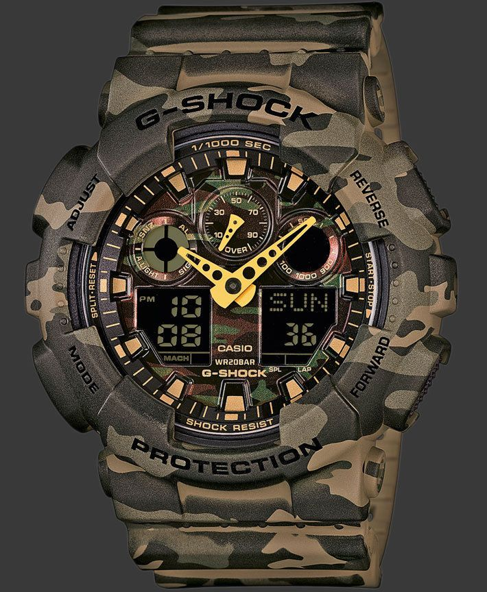 3be4e93eaa2 Watch Men s Casio G Shock GA 100 Series Military Camo 24 Month Premium Care