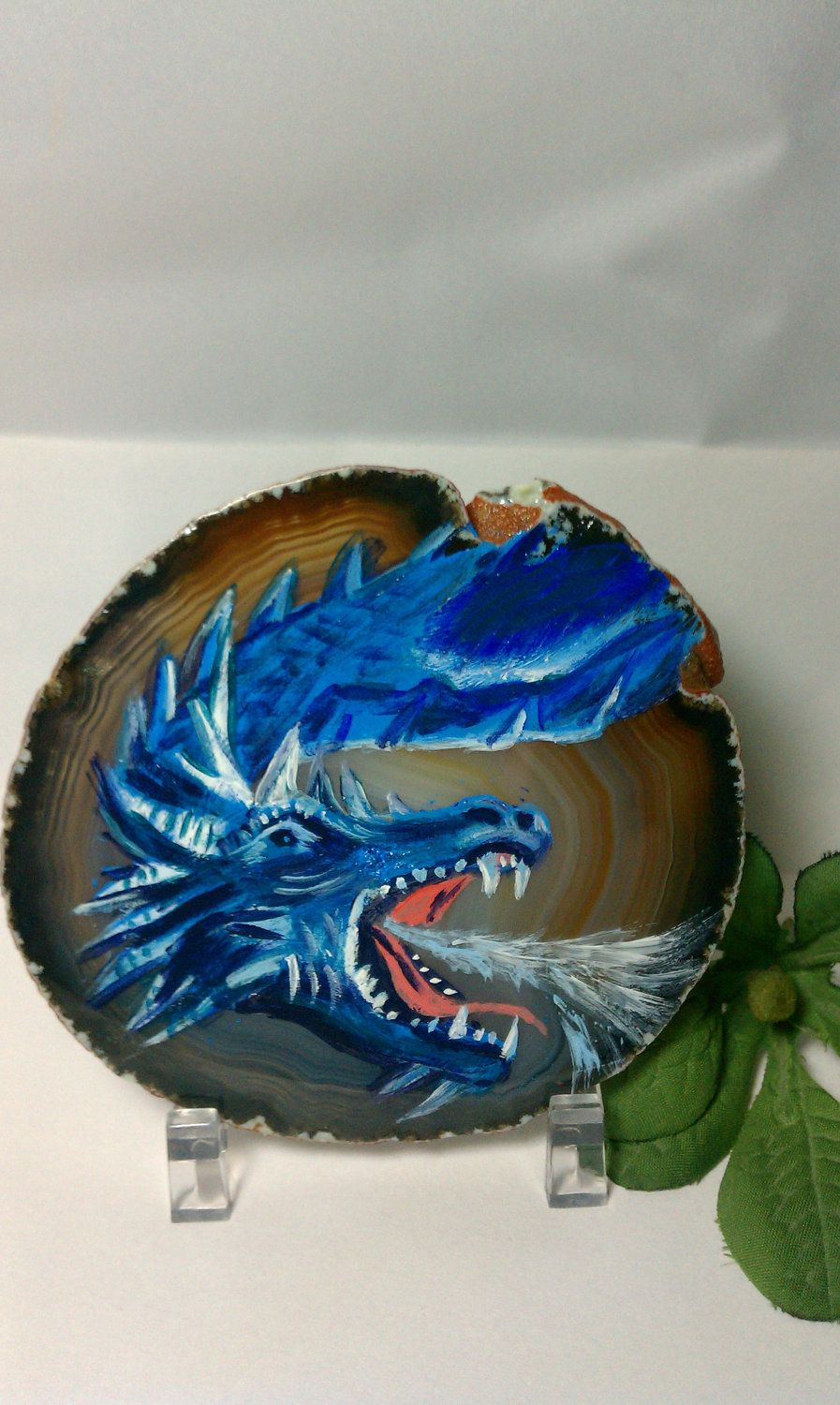 Dragon (Blue) Hand Painted On A Slice of Agate Stone. $25.99, via Etsy.