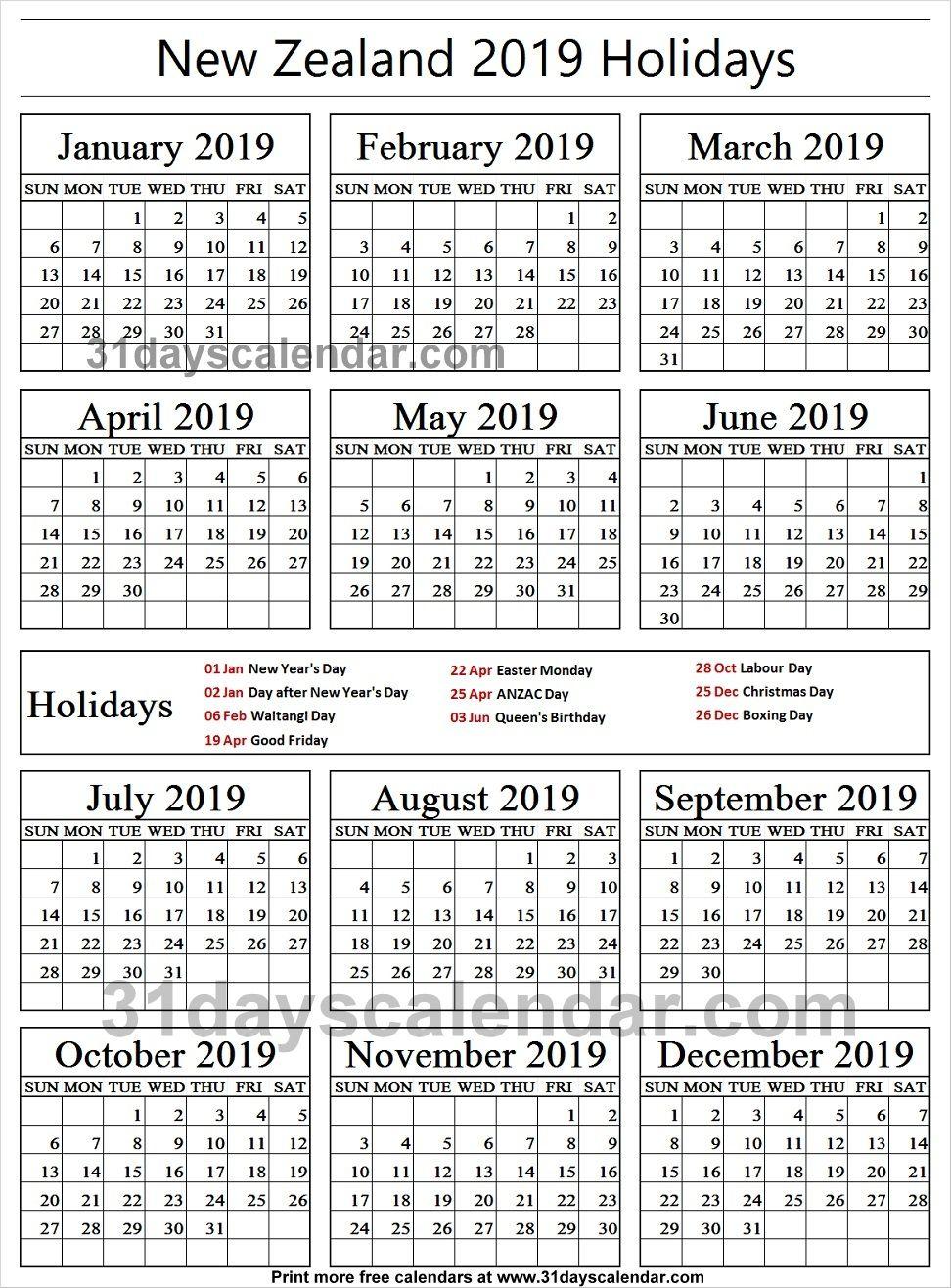 New Zealand National Holidays 2019 Calendar Philippine Holidays