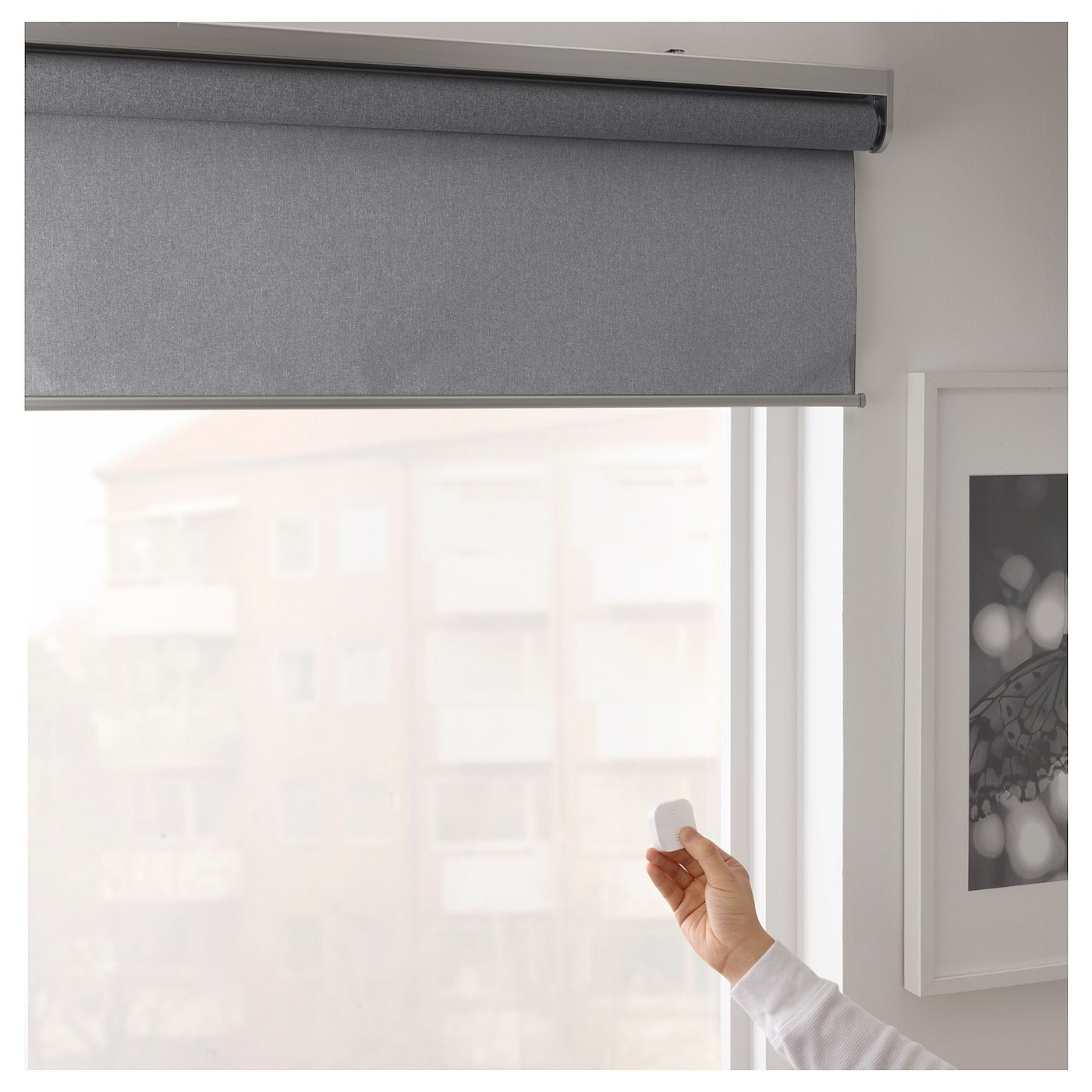 Fyrtur Blackout Roller Blind Wireless Battery Operated Gray