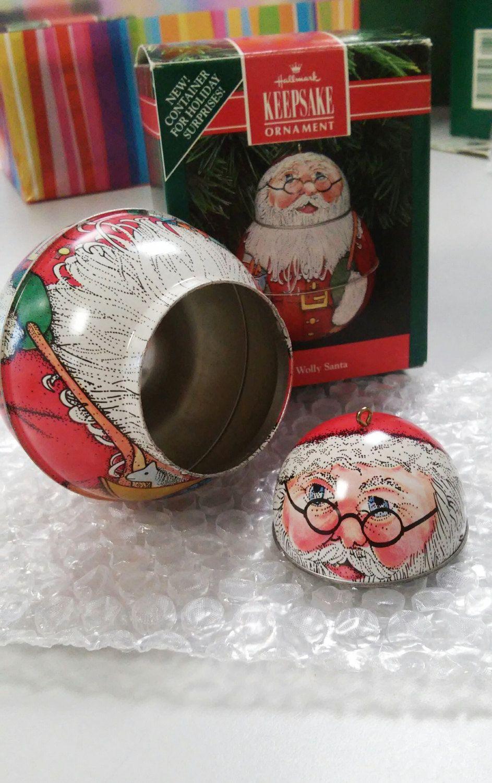 Jolly Wolly Santa - vintage 1991 tin Hallmark Keepsake ornament, stash jar…