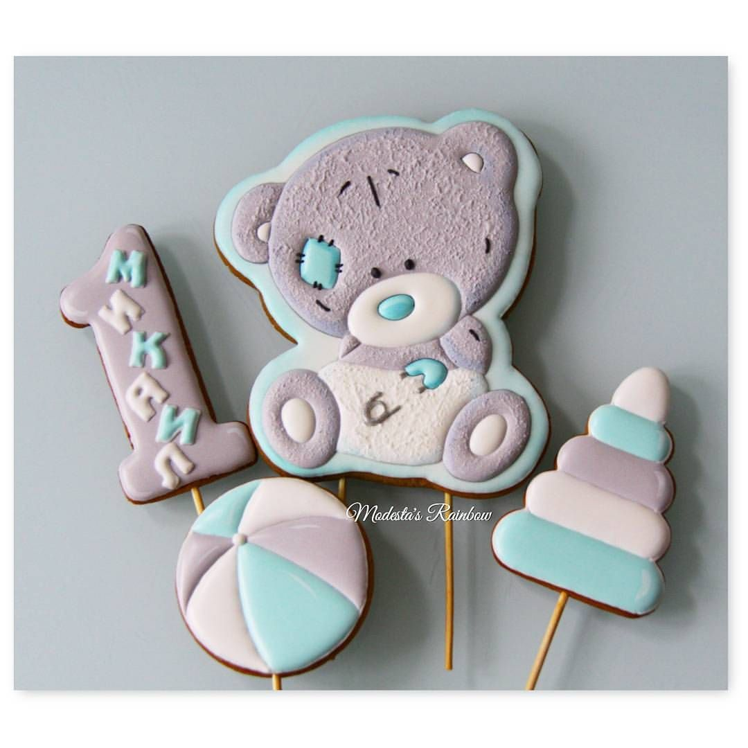 Nabor Dlya Malenkogo Mikaila Mishka Teddi S Igrushkami Vseh Multyashek Mozhno Posmotret Po Heshtegu Pers Baby Cookies Bear Cookies Gingerbread Cookies Decorated