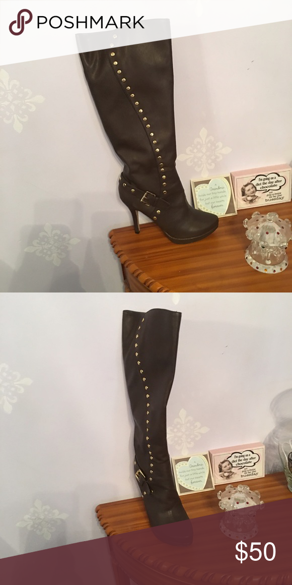 Boots NWOT comes in box Buckle at ankle bling up the side Shoes Heeled Boots