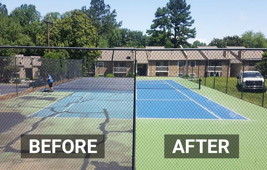 Awesome Before And After Shot Of A Tennis Court We Resurfaced In Winston Salem Tennis Court Tennis Lake Beach House
