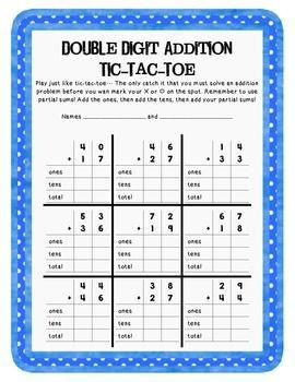 double digit addition tic tac toe teachers pay teachers pinterest math 2nd grade math and. Black Bedroom Furniture Sets. Home Design Ideas