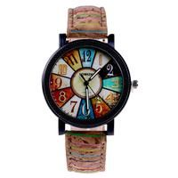 Unique Retro National Wood Grain Cool Simple Leisure Printing Women's Quartz