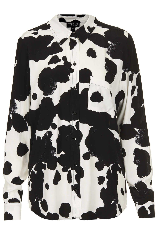 Buy Topshop Womens White Cow Print Shirt Starting At 40 Similar