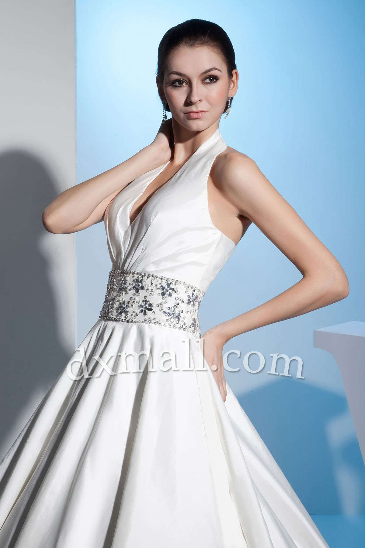 Aline wedding dresses halter floor length taffeta satin ivory