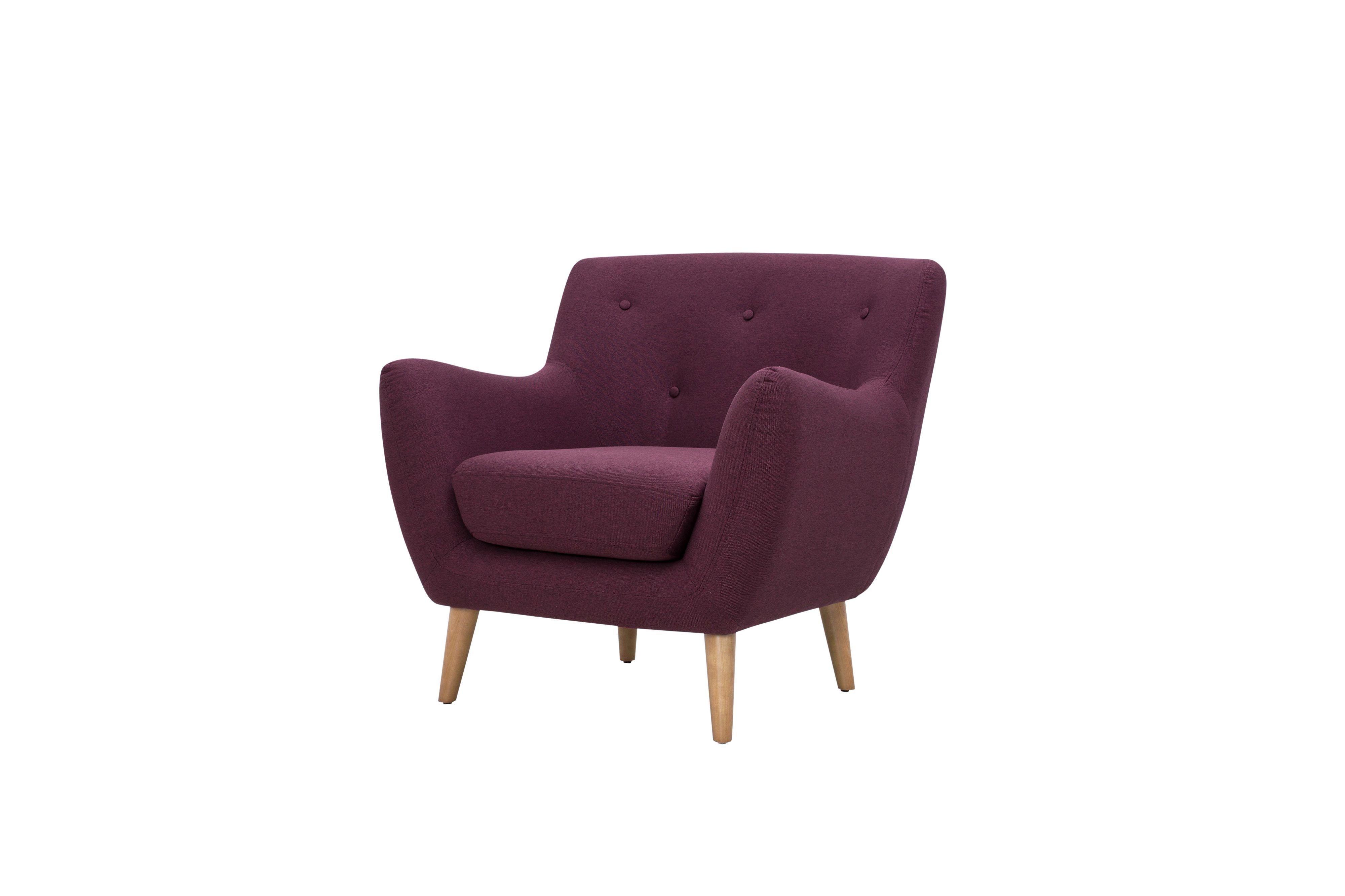 Craquez pour sa couleur originale le fauteuil scandinave milo tissu bordeaux but