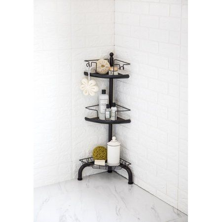Homezone 3 Tier Corner Shower Caddy With Adjustable Shelves Oil Rubbed Bronze Walmart Com Corner Shower Caddy Corner Shower Shower Organization