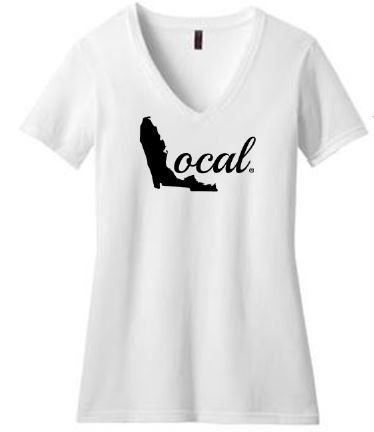 Florida Local - Womens White Shirt - Black FL Local Scripty Logo