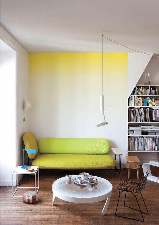 Ombre Wand gelb   Deko   Pinterest   Wohnzimmer, Wandgestaltung und ...