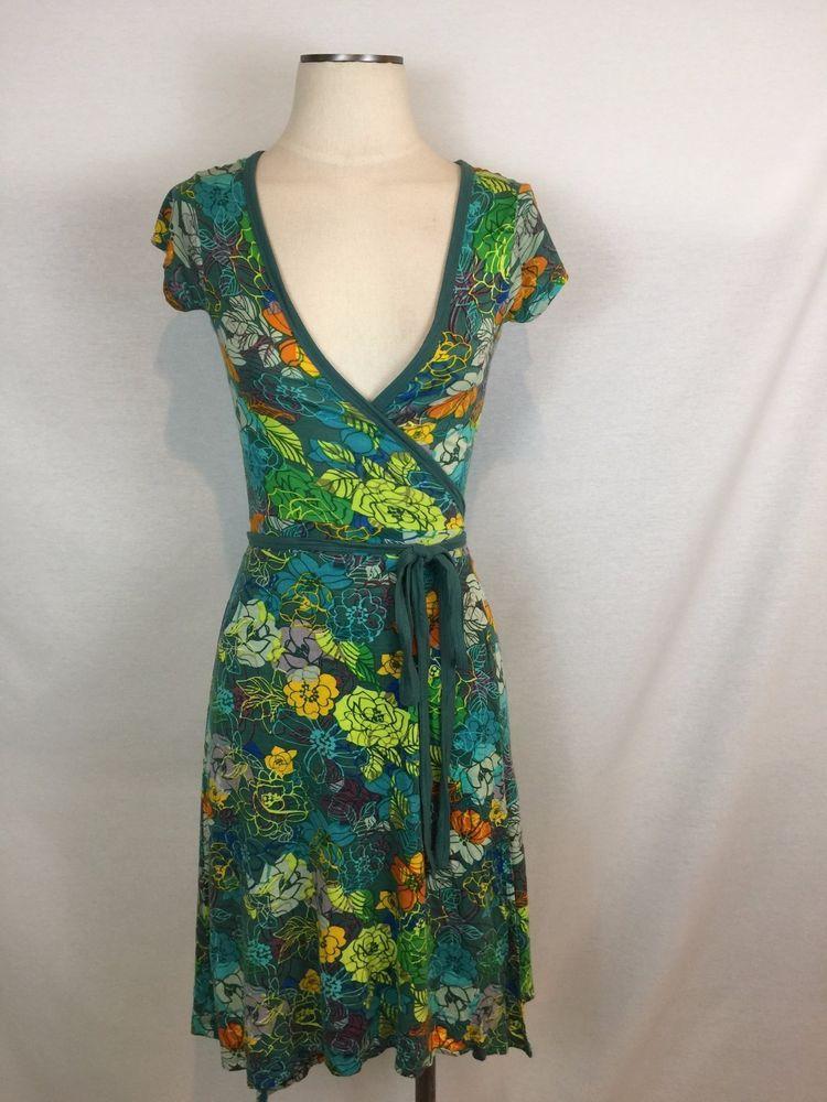 f2f73552a75f INDISKA S FLORAL TRUE WRAP DRESS BLUE GREEN ORANGE PURPLE YELLOW VERY  PRETTY!