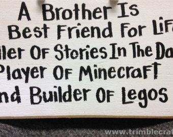 Brother best friend minecraft legos sign boys gift room decor wood