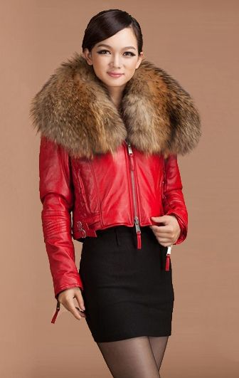 Popular Leather Short Red Jacket Fur Collar-Buy Cheap Leather ...