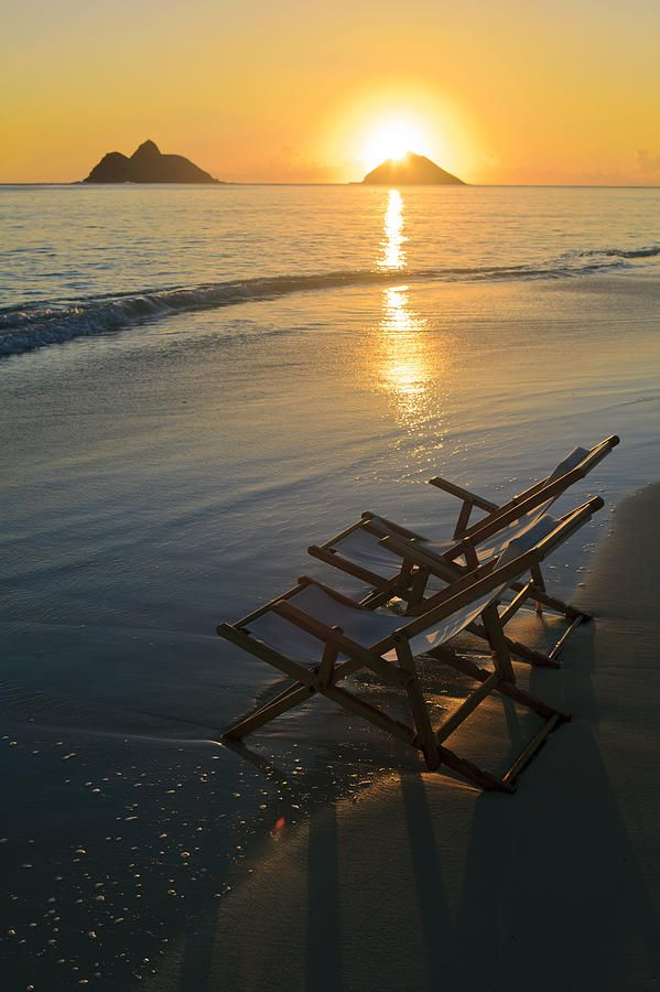Hawaii Lanikai Pair Of Empty Beach Chairs At Sunset Find Your
