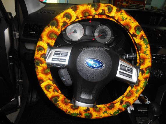 Brilliant Sunflower And Ladybug Steering Wheel Cover Fully Lined Red Andrewgaddart Wooden Chair Designs For Living Room Andrewgaddartcom