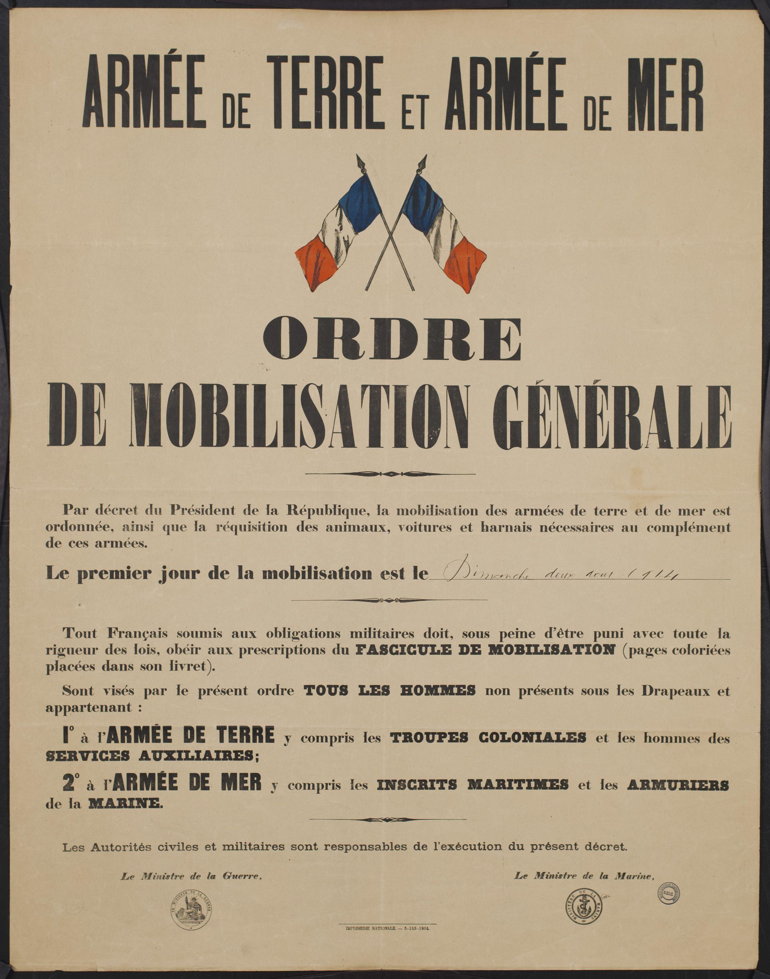 Ordre De Mobilisation Generale Guerre Mondiale 1ere Guerre Mondiale Premiere Guerre Mondiale