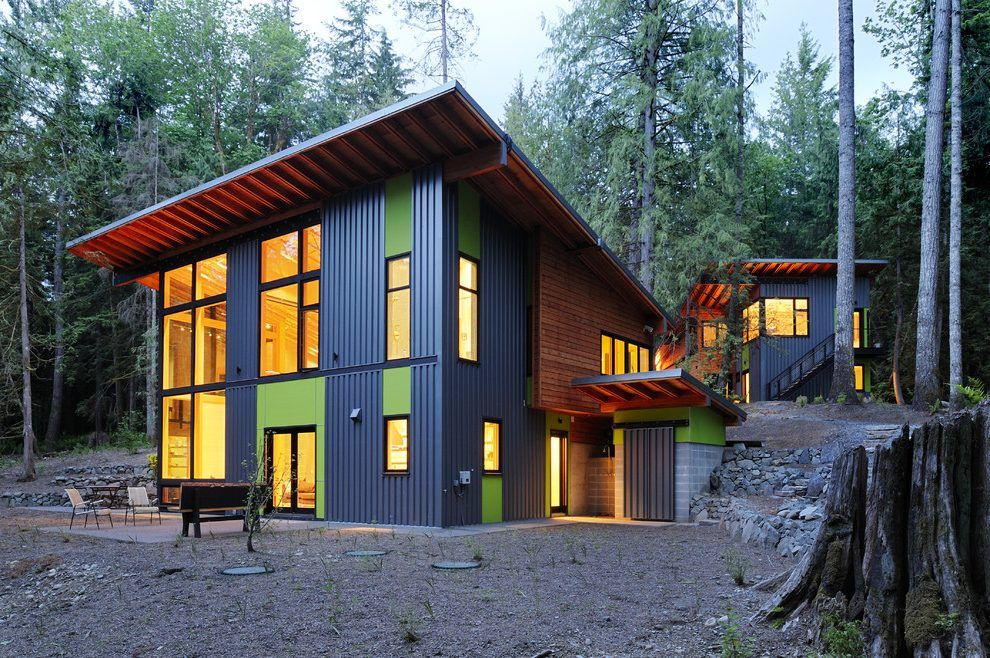 Mixed Siding Flat Roof Home Decorating Ideas Exterior Contemporary