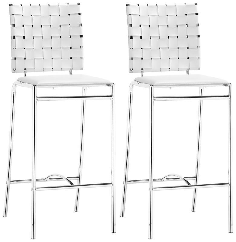 Fabulous Zuo Criss Cross Chrome With White Armless Counter Stool Lamtechconsult Wood Chair Design Ideas Lamtechconsultcom
