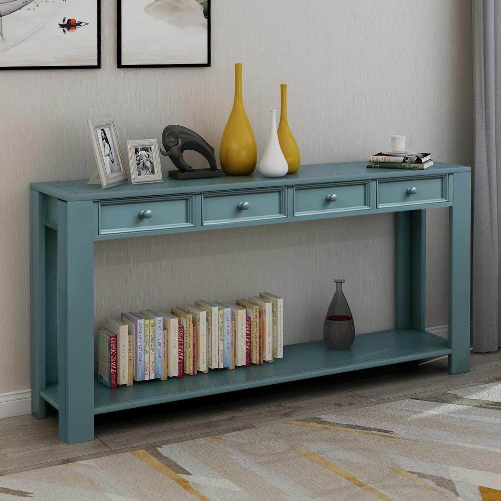 Keep The Entryway Tidy While Crafting A Welcoming Display With The Help Of A Console Table This De In 2020 Wood Console Table Sofa Table With Drawers Sideboard Storage