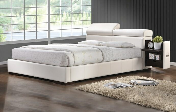 682cb042b7 Maxine collection contemporary style white leather like vinyl queen size bed  set with adjustable headrests