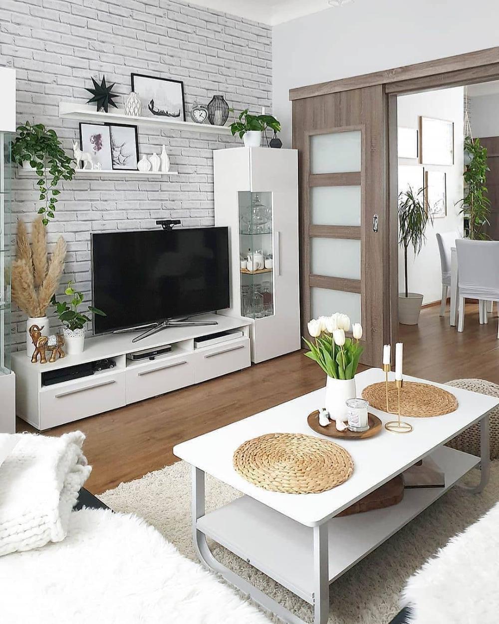 Wallpaper Dinding Ruang Tamu Minimalis Motif Batu Bata Simple Dekor Rumah Ruang Tamu Putih Ruang Tamu Rumah Ide Dekorasi Ruang Tamu