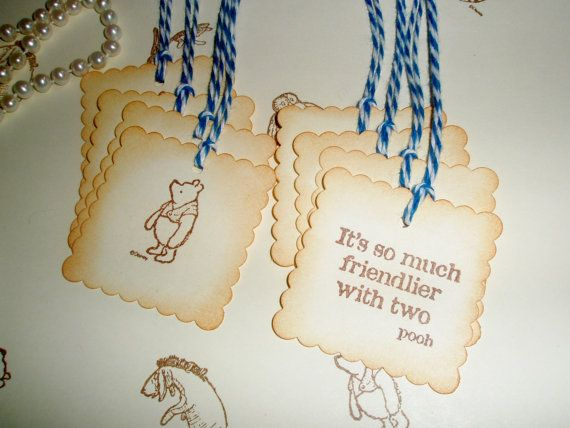 Winnie the Pooh favor gift tags-Wedding tags-Christopher Robin-Pooh ...