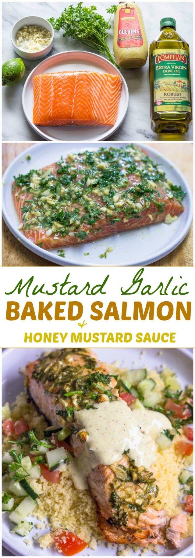 Baked Mustard Garlic Salmon with Honey Mustard Sauce