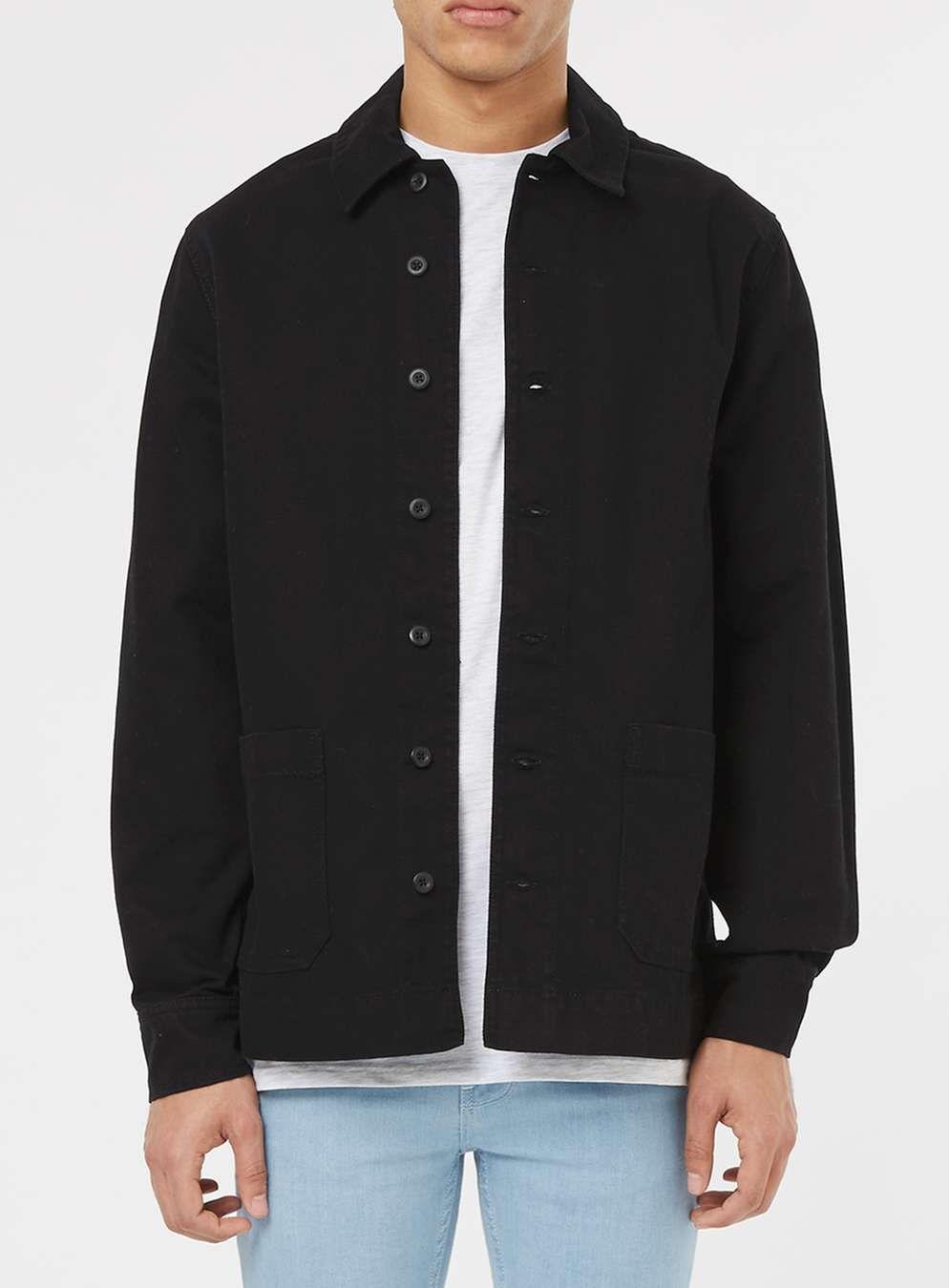 8252ce77 Black Denim Long Sleeve Overshirt | Cool Items | Black denim, Work ...