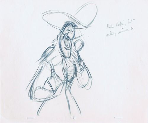 Frank Thomas Rough Animation Sketches For Captain The Disney
