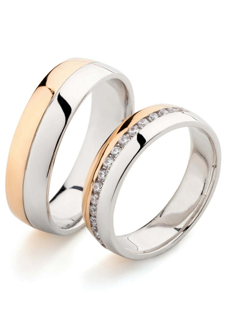 Gold Wedding Bands With Diamonds Two Tone Wedding Bands Etsy Mens Wedding Rings Couple Wedding Rings Cool Wedding Rings