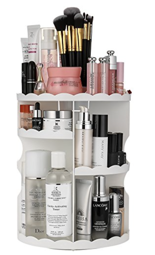 Rotating Makeup Organizer How To Organize All That Makeup Without Taking Up A Ton Of Space On The Bathroo Makeup Organization Make Up Organiser Makeup Storage