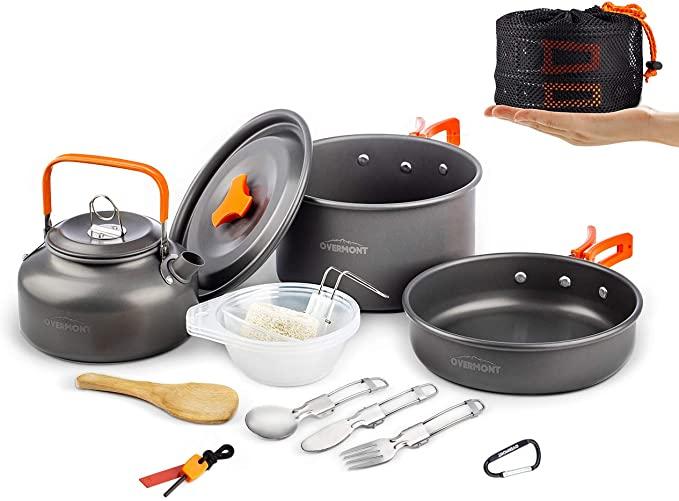 Camping Cookware Set Campfire Pot Pan Utensils Camp Cooking Backpack Mess Kit J