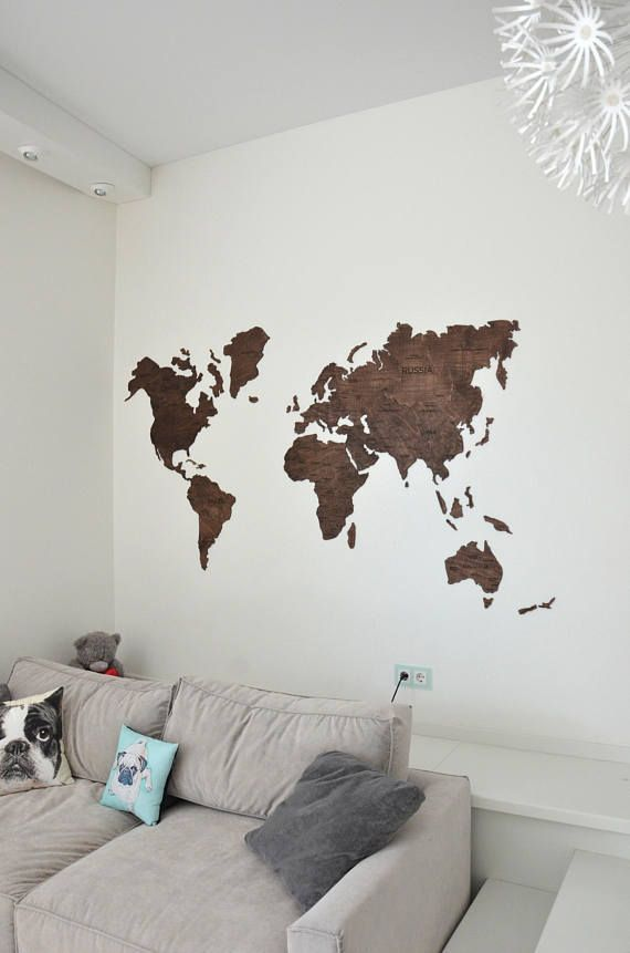 Scandinavian Style Interior Home Wall Art Wooden World Map Large