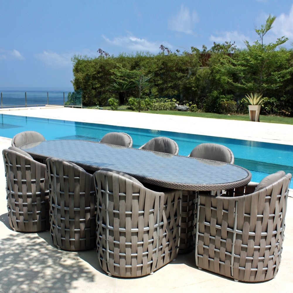 Synthetic Rattan Oval 8 Seater Dining Table With Glass Table Top