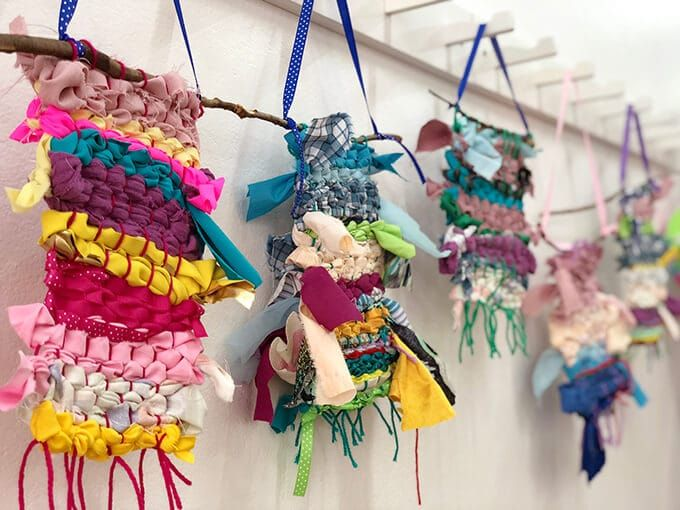 How to Create A Simple Weaving for Kids with Fabric + A Cardboard Loom