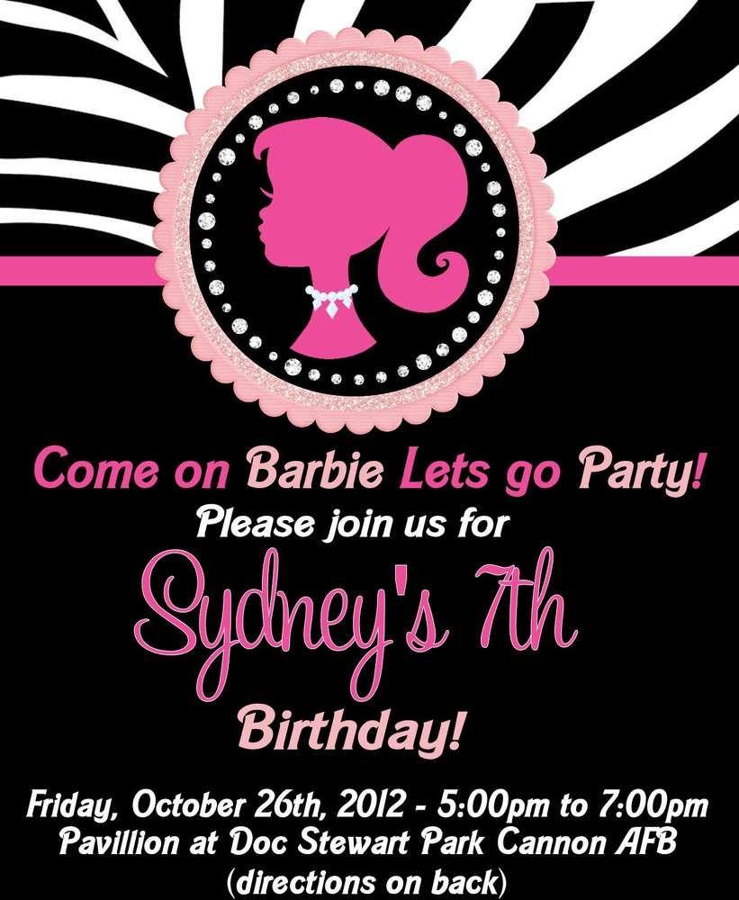 Barbie Zebra Theme 1st And 5th Birthday: Barbie Silhouette Birthday Party Ideas