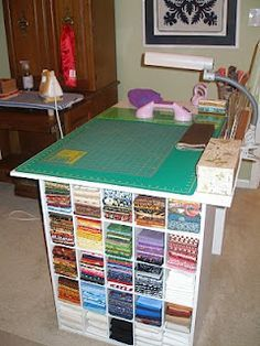 Closet Maid Shoe Cubbies Used To Make A Sewing Cutting Table With A Place  To Store My Fabric And Sewing Supplies And Accessories.