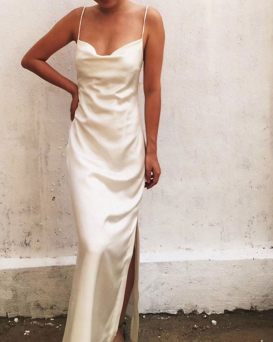 Pure White Crystal Cowl Neck Backless Silk Gown By Alashanghai Silk Studio White Slip Dress Slip Wedding Dress Slip Dress [ 1128 x 900 Pixel ]