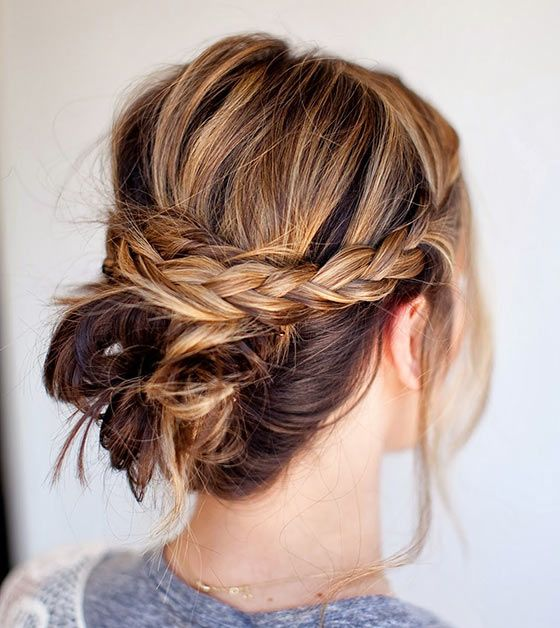 Updos For Medium Hair - Messy Updo With Braids