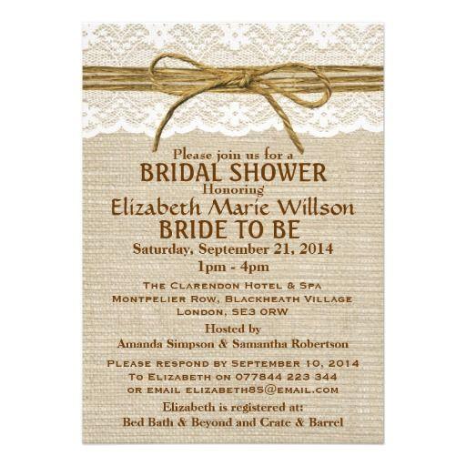 Ivory lace rustic twine bow burlap bridal shower personalized ivory lace rustic twine bow burlap bridal shower personalized invitation filmwisefo Images