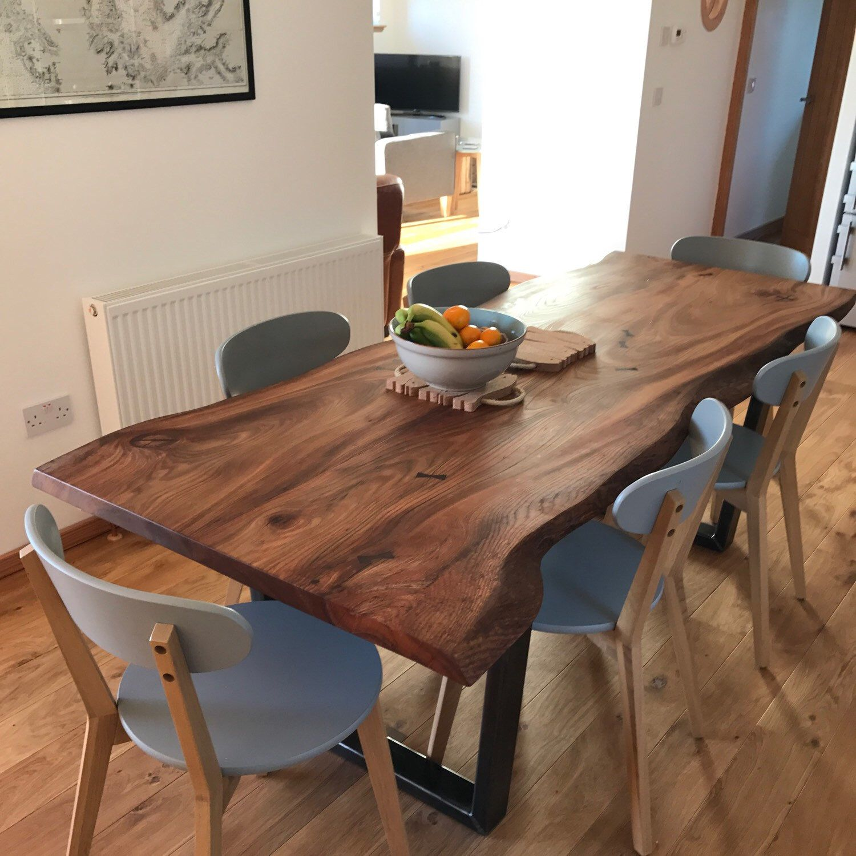 Live Edge Elm Dining Table On Box Steel Legs Wood Dining Room Table Slab Dining Tables Wooden Dining Table Designs