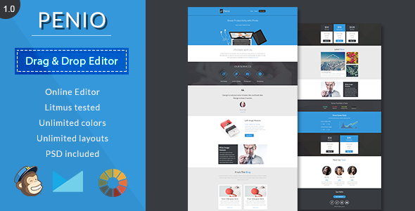 PenioResponsive Email Template With Editor  Responsive Email