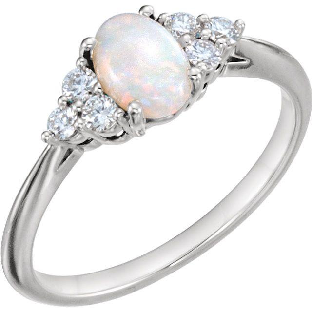 14k Gold Genuine Australian Opal & 1 5 CTW Diamond Ring White