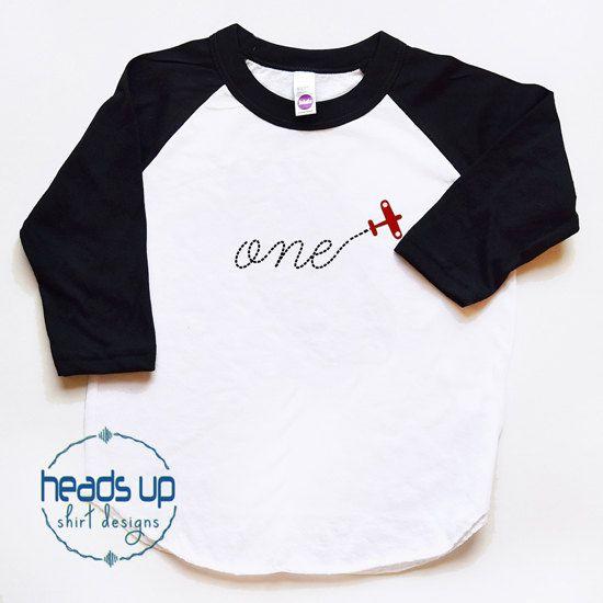 First Birthday Shirt Airplane Baby Boy Girl By Headsupshirtdesigns