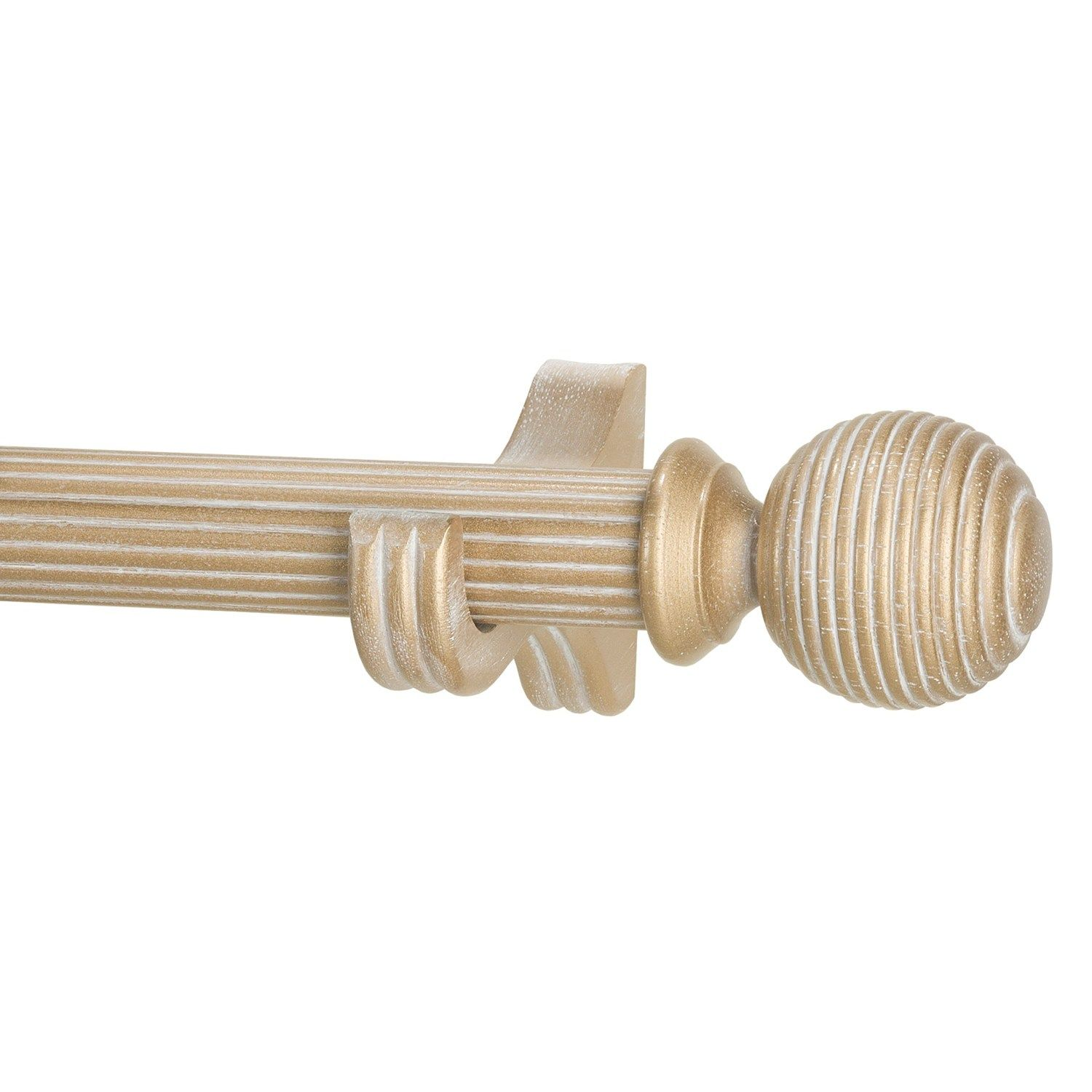 Versailles 6 Fluted Wood Curtain Rod Ball Finials In Antique